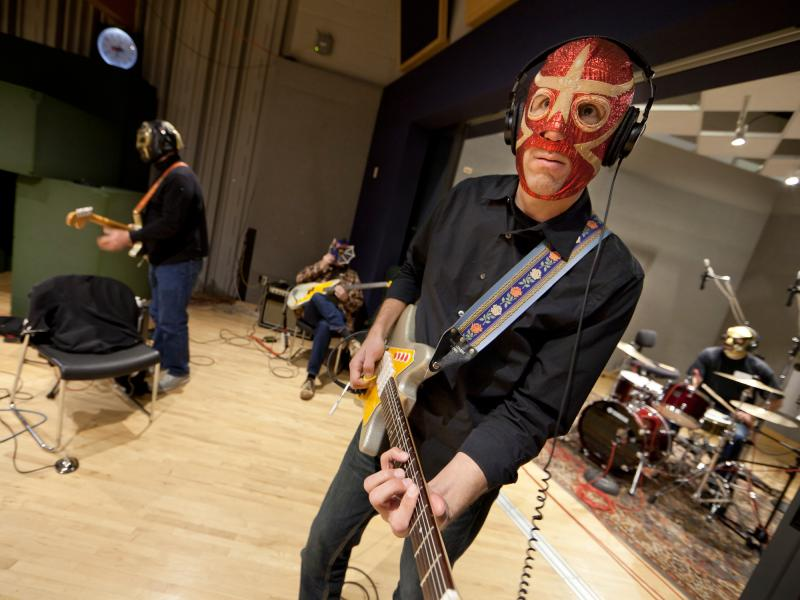Los Straitjackets' members rehearse in NPR's Studio 4A.