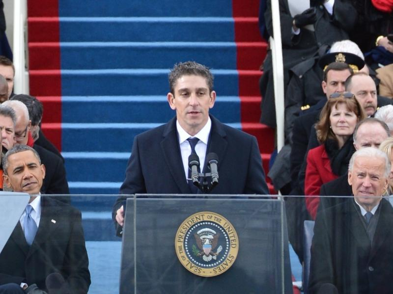 """Richard Blanco reads his poem """"One Today"""" during President Obama's second inaugural, on Jan. 21."""