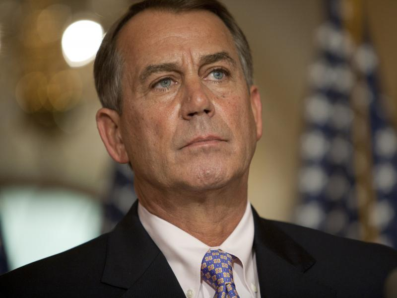 House Speaker John Boehner holds a press conference on July 30, 2011, at the Capitol in Washington.