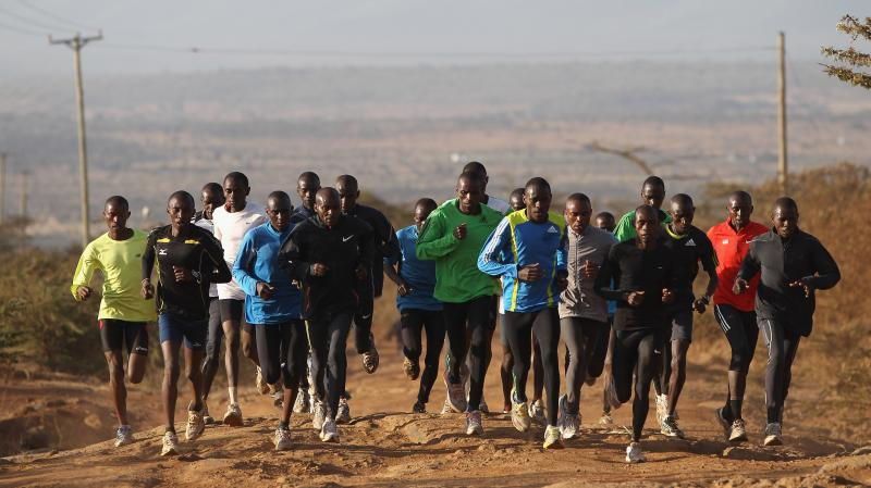 Runners train in Ngong, Kenya, in 2012. The country has produced the world's best distance runners for decades, and most belong to the Kalenjin people.