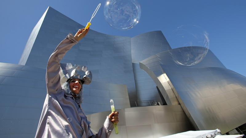 An Angeleno revels at 10 Times The Party, a celebration of Walt Disney Concert Hall's 10th Anniversary, on Oct. 5 in Los Angeles.