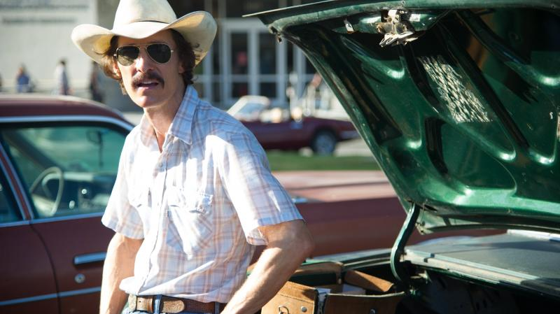 In Dallas Buyers Club, Matthew McConaughey takes on the role of Ron Woodroof, a Texas man who, diagnosed with AIDS in the 1980s, begins to smuggle experimental drugs in from Mexico.