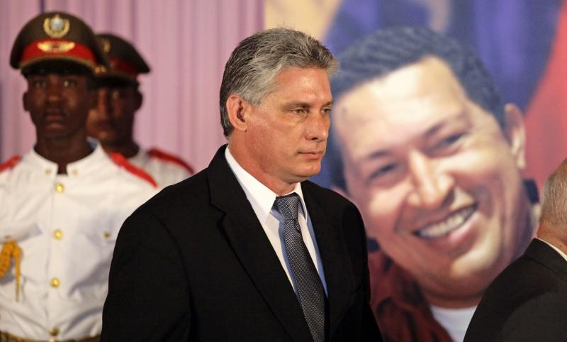 Newly elected Cuban Vice President Miguel Diaz-Canel attends a tribute to the late Venezuelan President Hugo Chavez in March. Diaz-Canel is expected to eventually succeed Raul Castro as the island nation's leader in 2018.