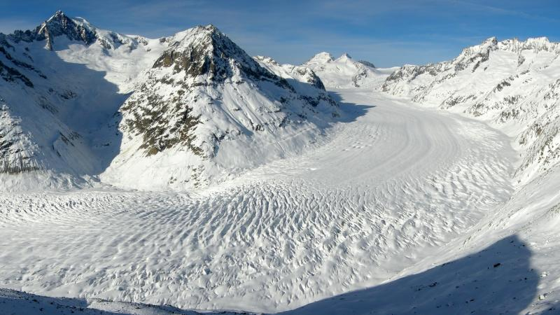 The Alps' largest glacier, Aletsch Glacier, extends more than 14 miles and covers more than 46 square miles.