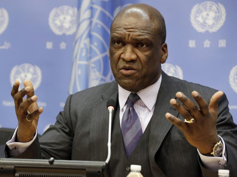 U.N. Ambassador John Ashe, of Antigua and Barbuda, speaks during a 2013 news conference at U.N. headquarters.
