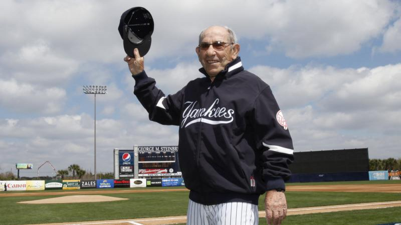 New York Yankees Hall of Fame catcher Yogi Berra has died at age 90. He's seen here being introduced before a Yankees spring training baseball game in 2010.
