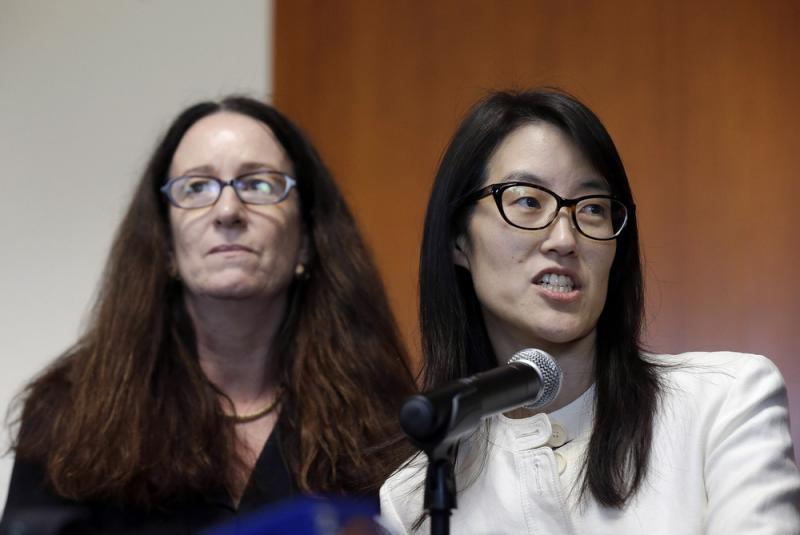 Ellen Pao, right, gives a statement to reporters next to her attorney Therese Lawless at in March, after a jury decided that a prestigious venture capital firm did not discriminate or retaliate against her.