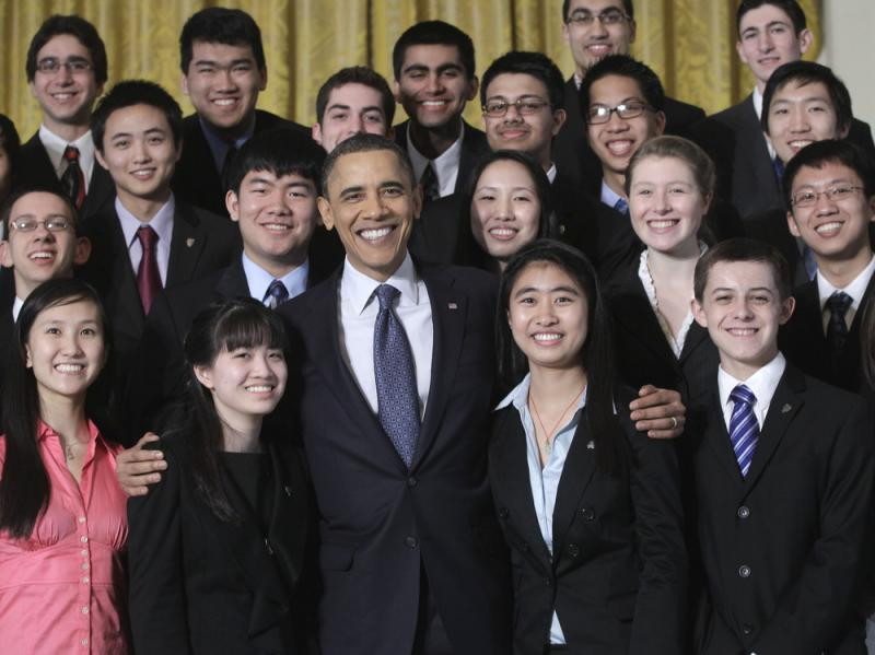President Obama meets with student finalists of the Intel Science Talent Search 2011 competition in the East Room of the White House.