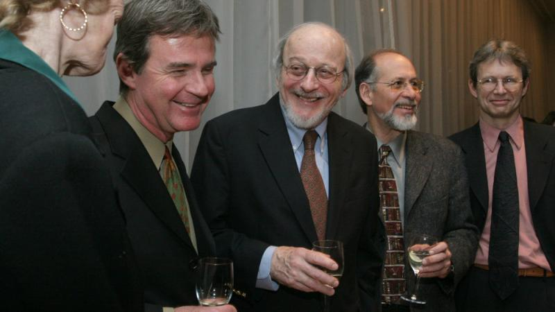 E.L. Doctorow, center, stands with other National Book Critics Circle award winners in March 2006 at a reception following the awards ceremony in New York. Doctorow's