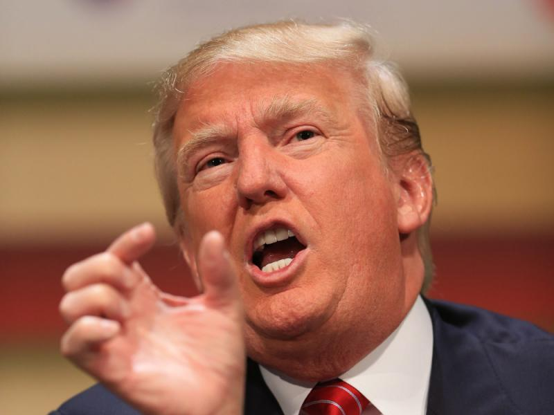 Republican presidential candidate Donald Trump speaks at the Family Leadership Summit in Ames, Iowa, on Saturday.