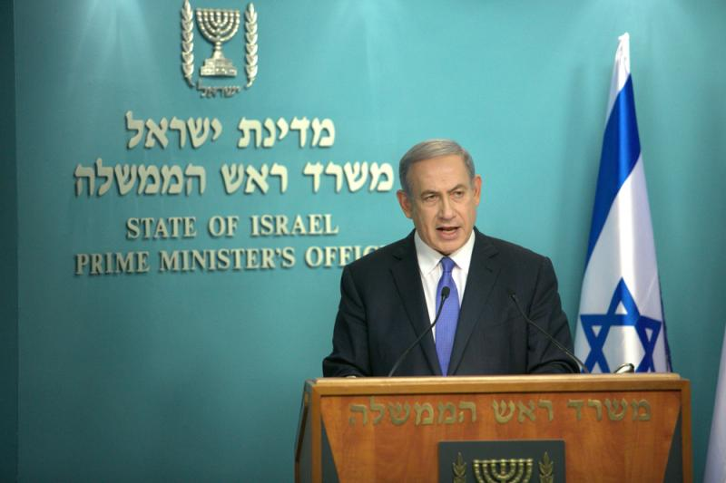 Israeli Prime Minister Benjamin Netanyahu speaks during a press conference at his Jerusalem office on Tuesday.