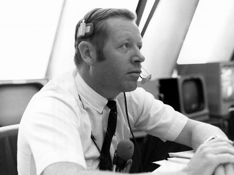 A Nov. 14, 1969, photo made available by NASA shows Jack King in the Firing Room of the Kennedy Space Center's Launch Control Center in Cape Canaveral, Fla., during the countdown for Apollo 12. King, who died Thursday, became known as NASA's