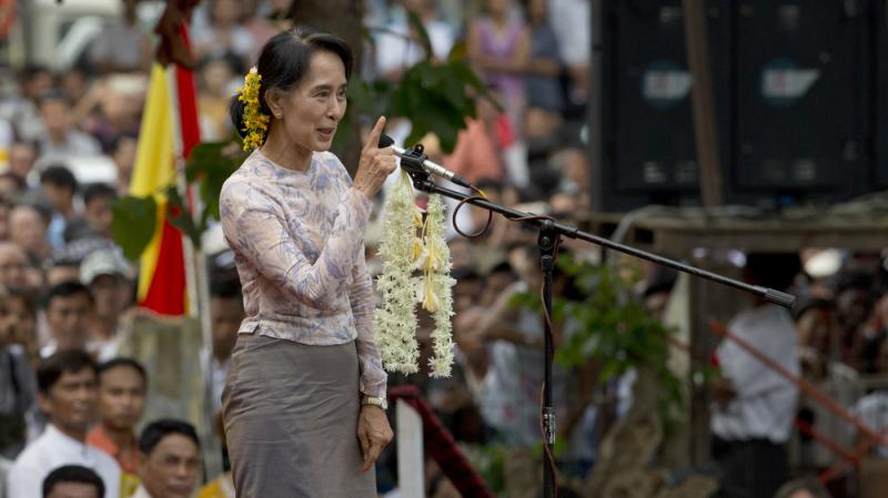 Myanmar opposition leader Aung San Suu Kyi speaks at rally in Yangon, Myanmar, last year. Suu Kyi won the Nobel Peace Prize for her struggle for democracy in her homeland, but has faced criticism lately for not speaking out about the plight of the Rohingy