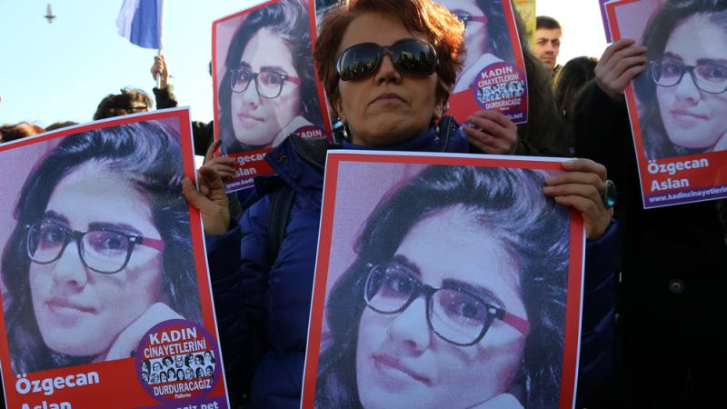 Demonstrators in the Turkish capital of Ankara hold posters of Ozgecan Aslan, a 20-year-old student who was allegedly killed by a bus driver after fighting off a sexual assault. The posters read: