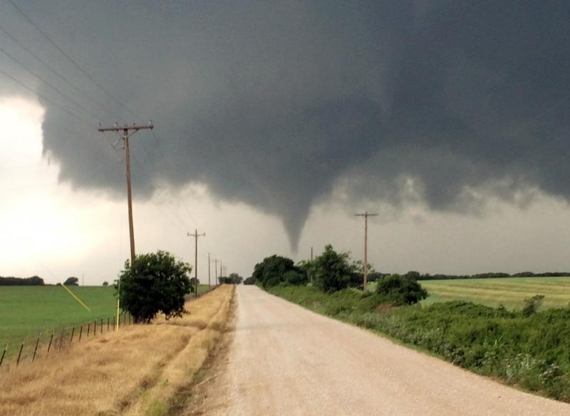 A tornado touches down in Cisco, Texas. One person was killed Saturday night and another left in critical condition after the tornado hit Cisco, a rural farming and ranch area about 100 miles west of Fort Worth.