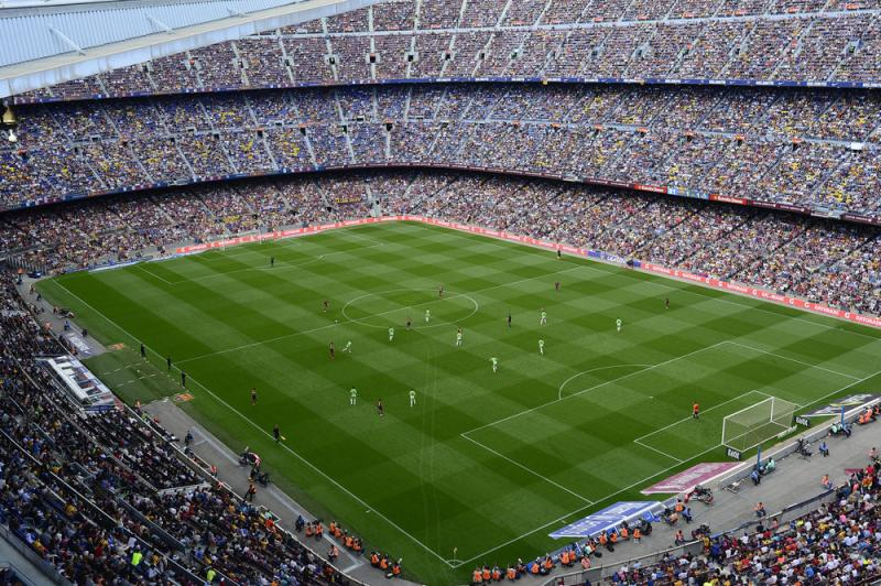 FC Barcelona plays Getafe in Barcelona, Spain, on May 3. Spain's soccer federation says it will halt all professional games