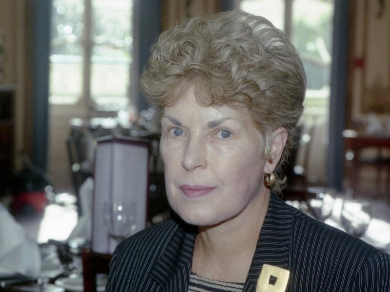 A September 1995 photo shows Ruth Rendell, in London. The prolific crime writer died Saturday at the age of 85.