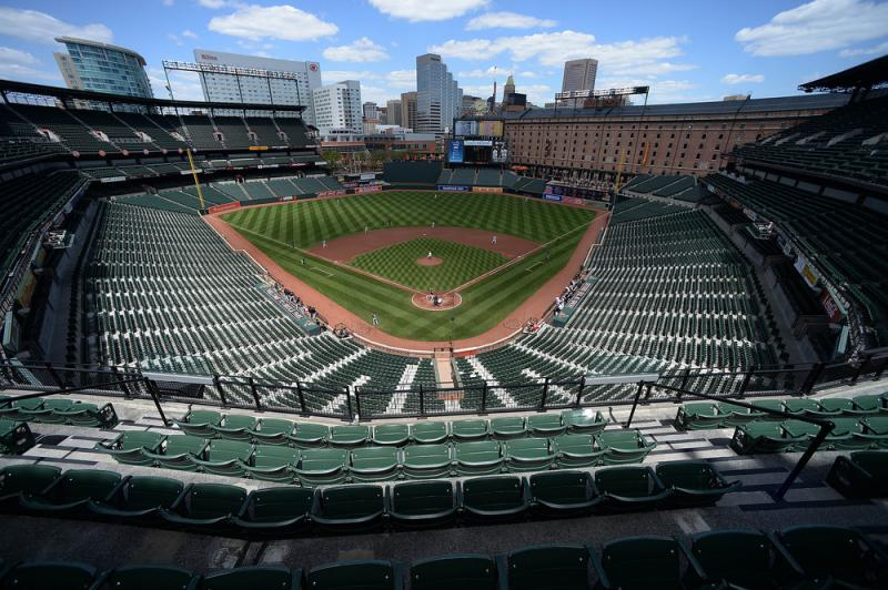 Baltimore Orioles pitcher Ubaldo Jimenez delivers a pitch against the Chicago White Sox in the first inning of a baseball game without fans on Wednesday in Baltimore.