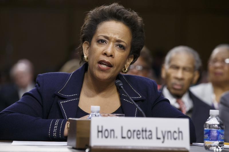 Loretta Lynch testifies on Capitol Hill in Washington on Jan. 28 during her confirmation hearing before the Senate Judiciary Committee