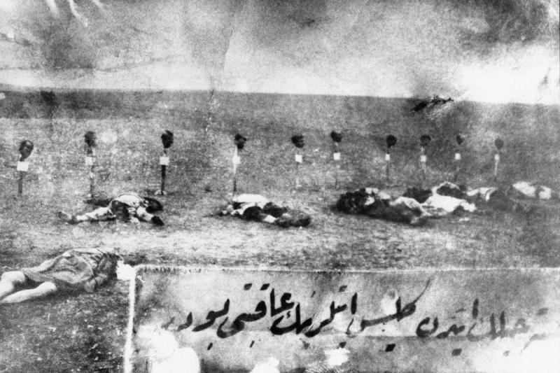 Armenians were massacred by forces of the Ottoman Empire in 1915. In this instance, the heads of the victims were placed on stakes.