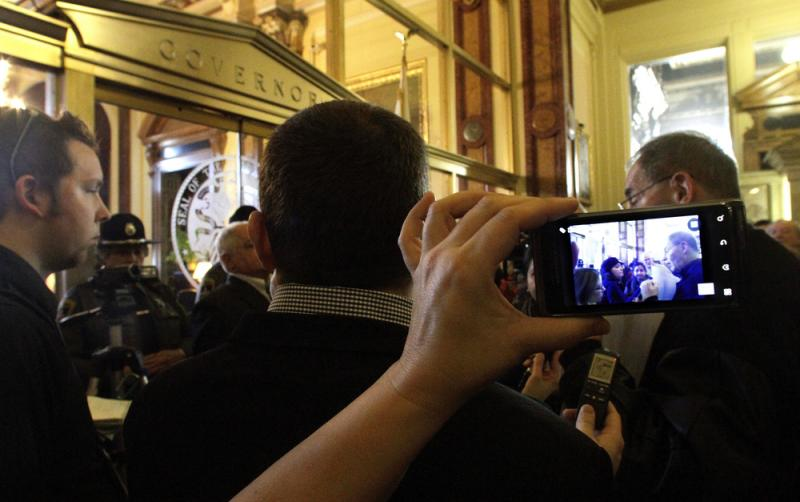 Cellphones were used to record a 2012 confrontation between protesters and police in Springfield, Ill.