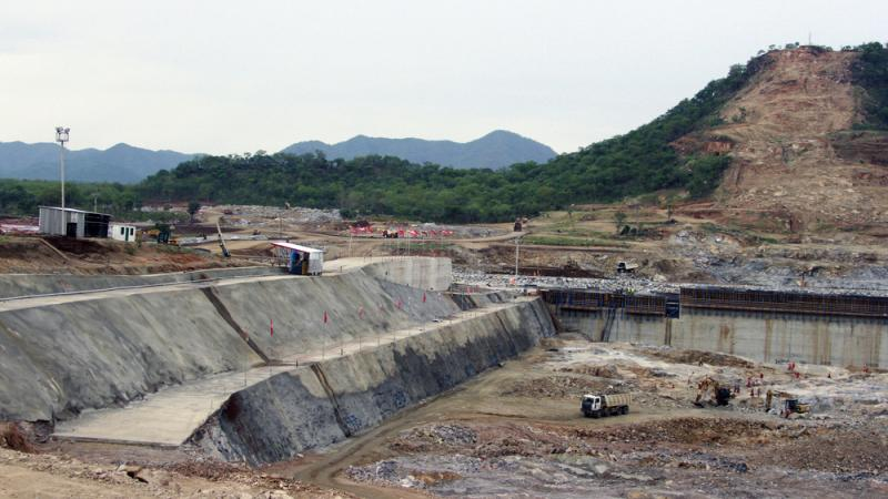 The Grand Ethiopian Renaissance Dam is under construction near Assosa, Ethiopia. When it's completed, the dam will have be able to produce 6,000 megawatts of electricity, making it the biggest hydroelectric power station in Africa.