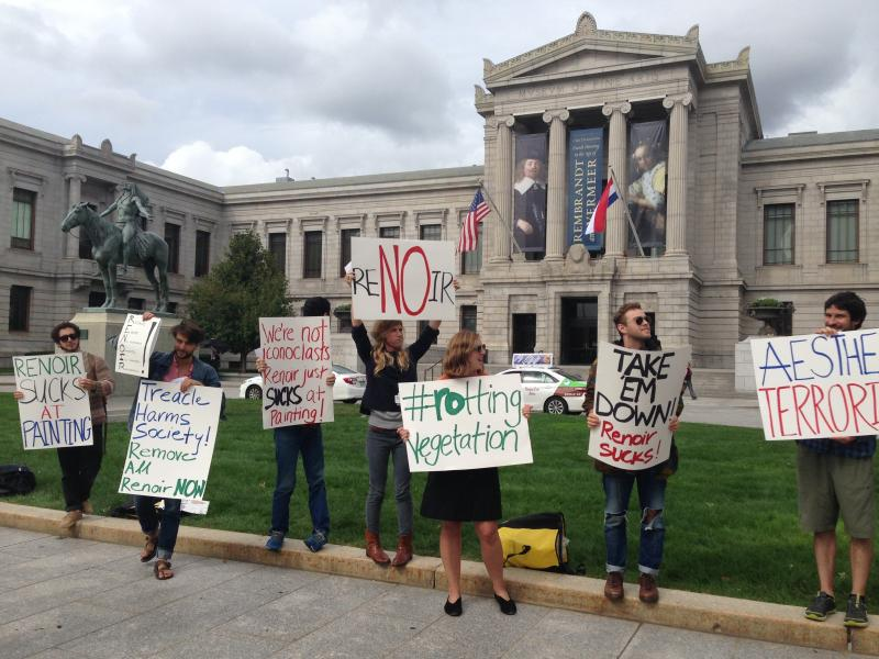 A small group of people rallied outside the Boston Museum of Fine Arts on Monday to protest that paintings by famous French Impressionist painter Pierre-Auguste Renoir are featured in the museum.