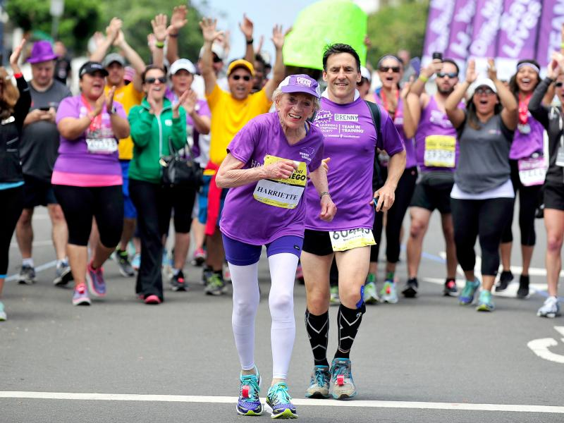 Harriette Thompson, 92, and her son Brenny Thompson finish the Suja Rock 'n' Roll San Diego Marathon on May 31 in San Diego.