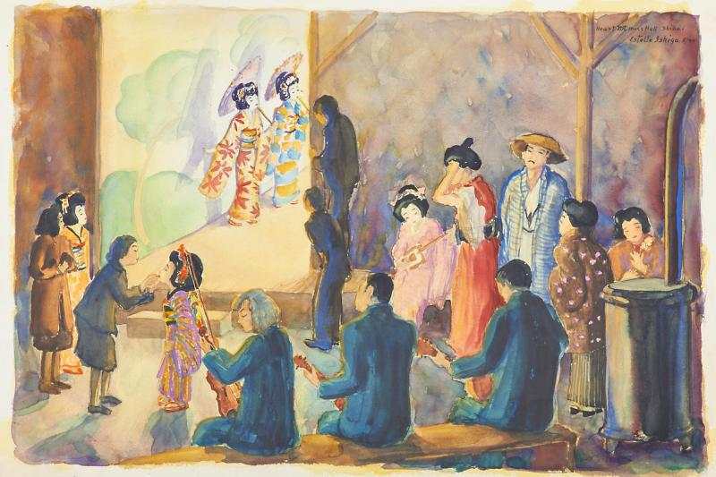 This watercolor scene at a mess hall in Wyoming's Heart Mountain internment camp was painted by Estelle Peck Ishigo, a white woman who voluntarily followed her Japanese-American husband into internment camps.