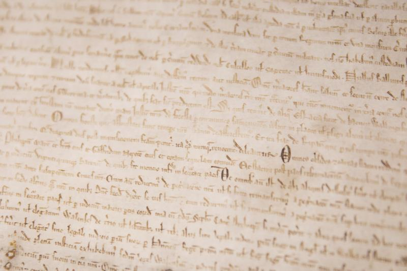 Two original Magna Carta manuscripts from 1215 are on display at the British Library in London.
