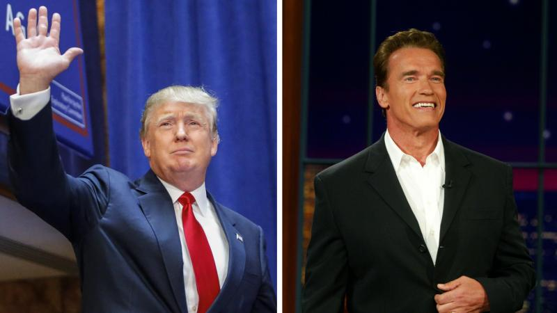 Donald Trump (left) arrives to announce his bid to run for president on June 16. Arnold Schwarzenegger (right) appeared on the Tonight Show with Jay Leno and announced he was running for governor of California on Aug. 6, 2003.