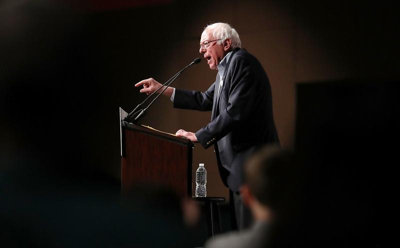 Sen. Bernie Sanders speaks during an event at the the James L. Knight Center on Thursday in Miami as part of a Democratic unity tour. Sanders is getting heat for campaigning with Omaha Neb. mayoral candidate Heath Mello who has supported abortion restr