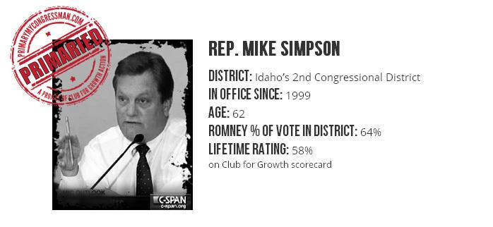 The Club for Growth is backing a candidate running against Republican Rep. Mike Simpson (shown in this screen shot from the PrimaryMyCongressman.com site) in Idaho's 2014 GOP primary.