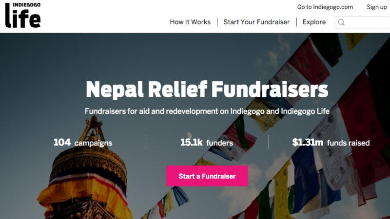 Here's a screenshot of Indiegogo Life's page for Nepal Relief Fundraisers.