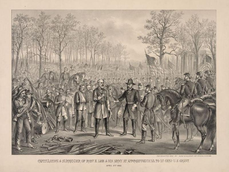 An engraving depicts Confederate Gen. Robert E. Lee's surrender to Union Gen. Ulysses S. Grant in Appomattox, Va.