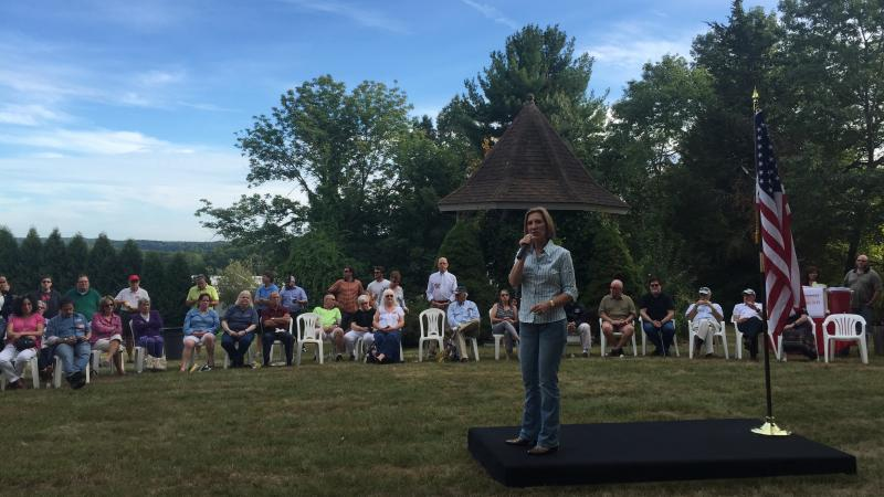 """Fiorina speaks to voters in Dover, N.H., on Saturday. She has said of Wednesday's debate: """"Many people don't know me yet. So it's an opportunity to introduce myself."""""""