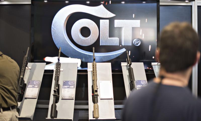 Colt's booth at a National Rifle Association exhibit in Nashville, Tenn., on April 11.
