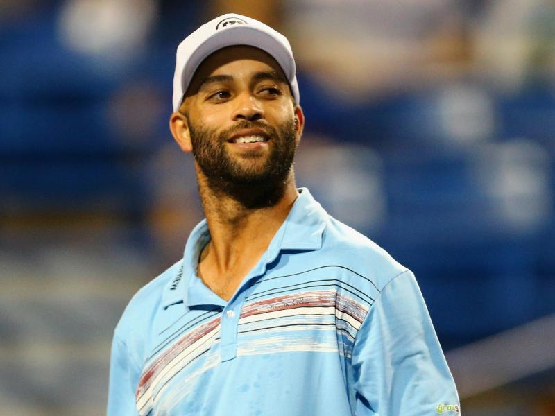 "In this Aug. 27 photo, retired tennis player James Blake looks on during a ""legends"" match against Andy Roddick."