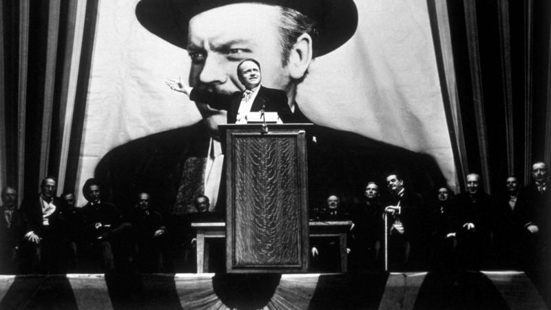 Orson Welles takes the lead role in his film Citizen Kane, the 1941 film that took clear aim at publishing mogul William Randolph Hearst. Hearst hated the movie and did everything he could to stop it from being released.