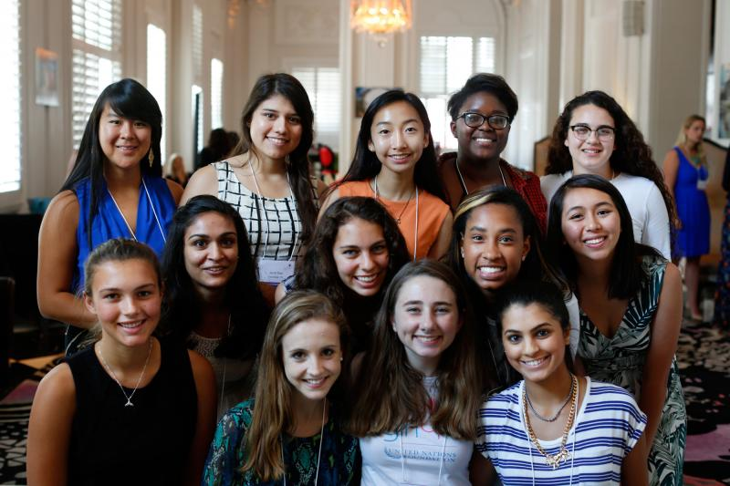 """Here's the group of """"teen advisers"""" who spoke with Goats and Soda at the 2015 Girl Up conference in Washington, D.C. Top row: Amy Gong Liu, Janet Diaz, Janet Ho, Kennede Reese, Rebecca Ruvalcaba. Middle row: Ruhy Patel, Celia Buckman, Simone Cowan, Jessic"""