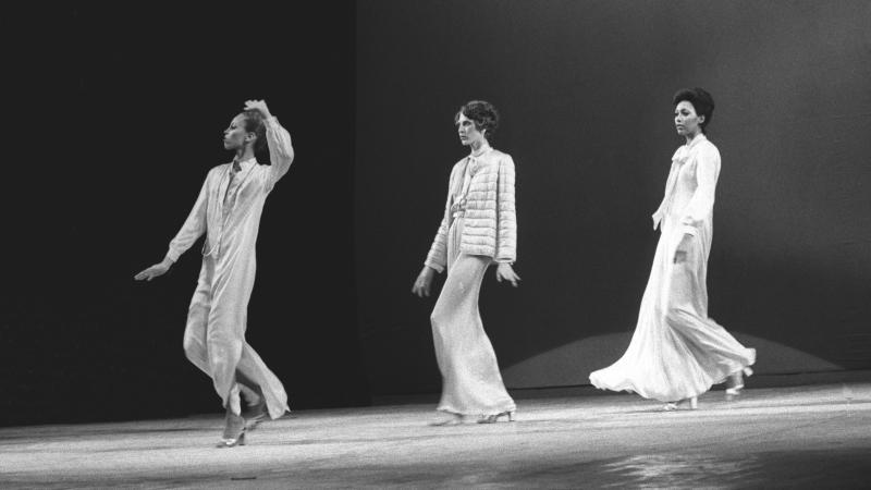Models show designs by Oscar de la Renta at the 1973 Versailles show. De la Renta was one of the first American designers to sign on for the catwalk competition.