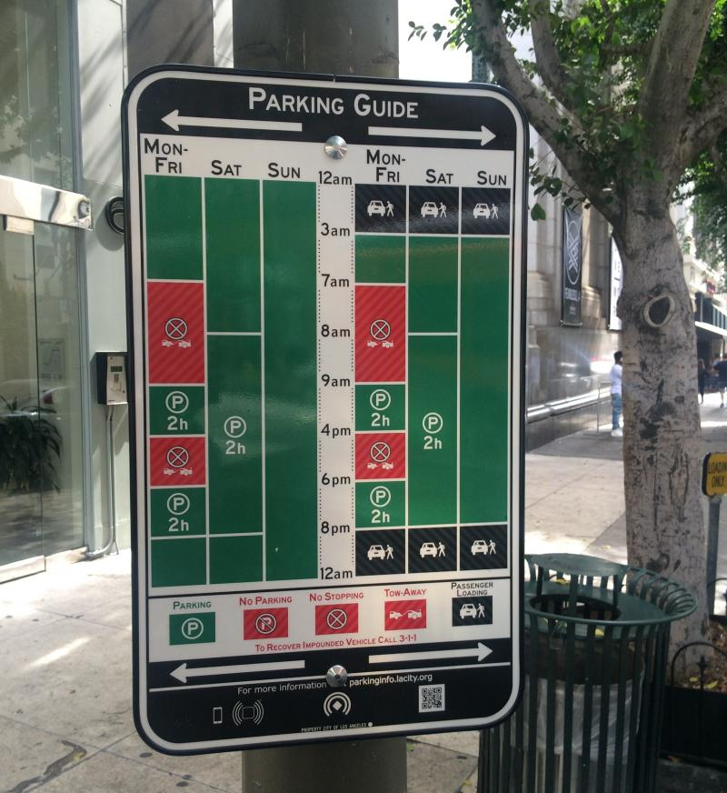 Los Angeles is trying out 100 of these new parking signs for six months. They're supposed to help streamline the current system. (See photo below.)