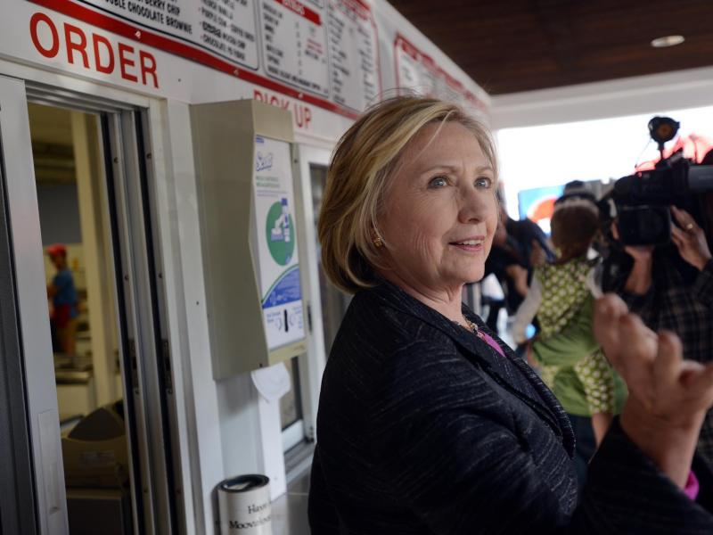 Hillary Clinton, seen here at Moo's Place in New Hampshire, has talked about the economy on the campaign trail but only in broad strokes.