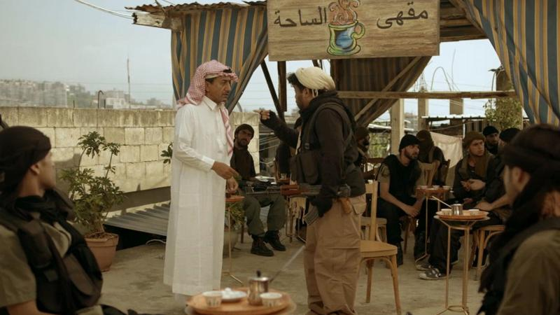Saudi actor Nasser al-Qasabi, at left, appears in a scene from his TV show Selfie, which satirizes ISIS. He's received death threats in reaction to the series, which airs on a Saudi-owned channel.