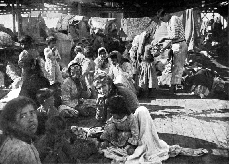 Armenian refugees on the deck of the French cruiser that rescued them in 1915 during the massacre of the Armenian populations in the Ottoman Empire. The photo does not specify precisely where the refugees were from. However, residents of Vakifli, the last