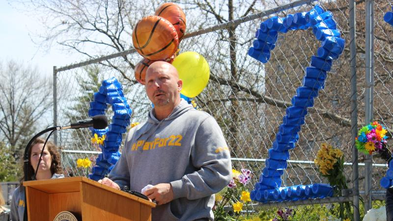 Mount St. Joseph University women's basketball coach Dan Benjamin spoke at a vigil for Lauren Hill Friday. The 19-year-old freshman died after a battle with brain cancer.