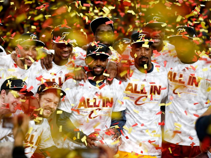 The Cleveland Cavaliers are showered with confetti after defeating the Atlanta Hawks in game four of the Eastern Conference finals to complete a sweep and advance to the NBA Finals.