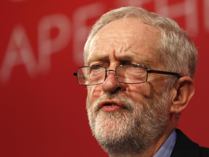 The new leader of Britain's opposition Labour Party, Jeremy Corbyn, makes his inaugural speech at the Queen Elizabeth Centre in central London, on Saturday.
