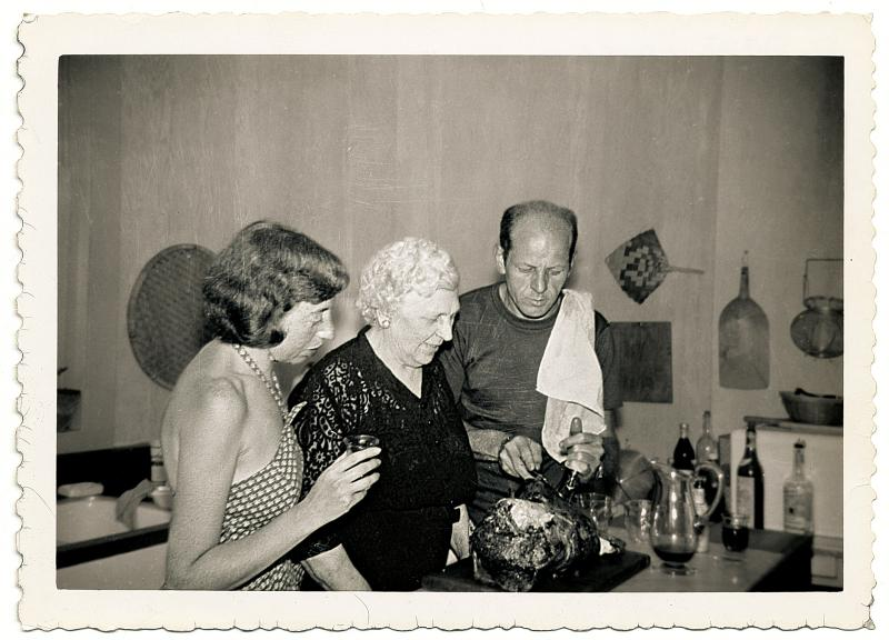 Jackson Pollock cooks with his wife, the artist Lee Krasner, and his mother, Stella Pollock, in the kitchen of his home in Springs, in East Hampton, N.Y., 1950.