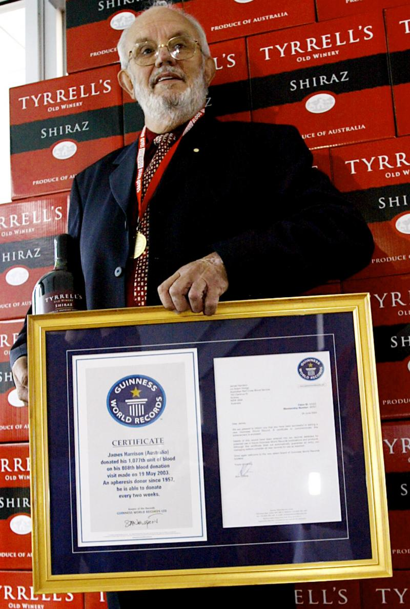 James Harrison was recognized in 2003 with the Guinness World Record for the most blood donated by one person.
